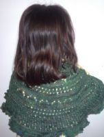Kelly's handknitted shawl in Stranded Silk Sock, Le Maquis